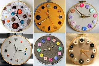 Relojes Reciclados con Tela y Botones