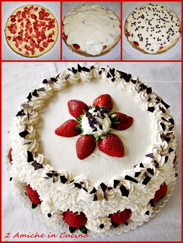 Torta panna e fragole per il mio compleanno 2 amiche in for Decorazioni torte frutta e panna