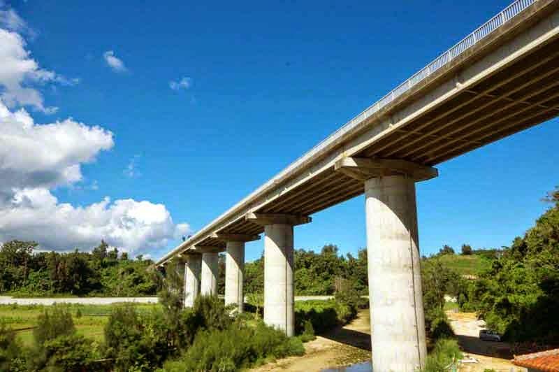 Kin Bridge,blue skies,white clouds