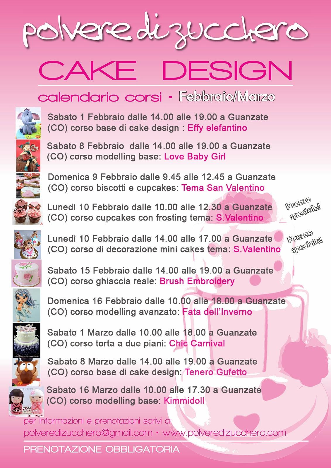 corsi cake design: calendario febbraio e marzo