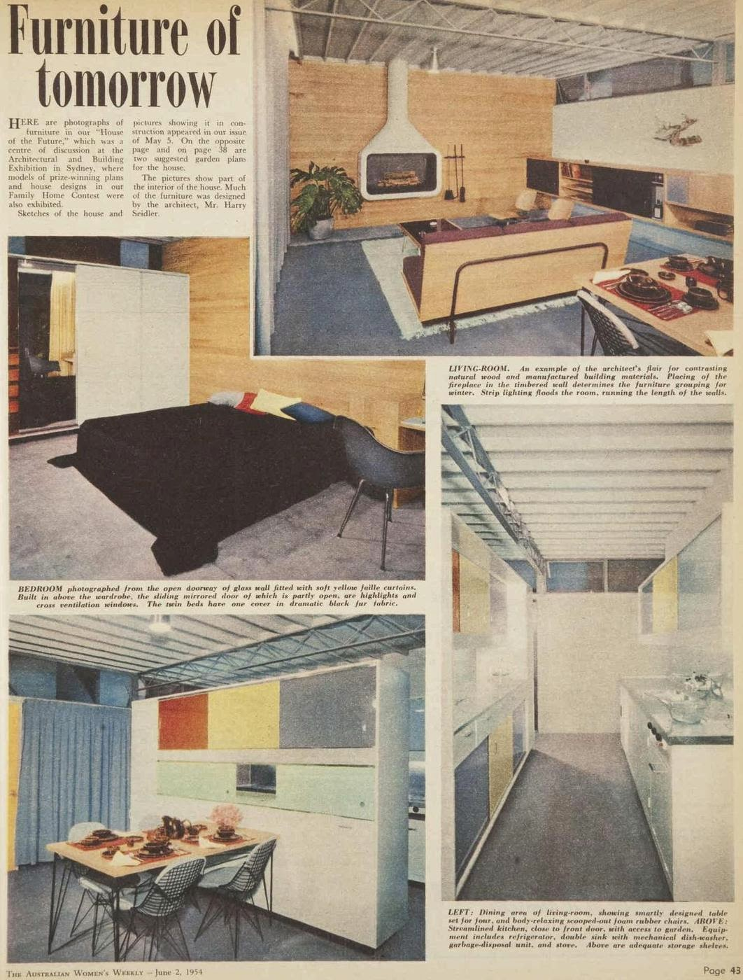 Interior of Siedler's 'house of the future'