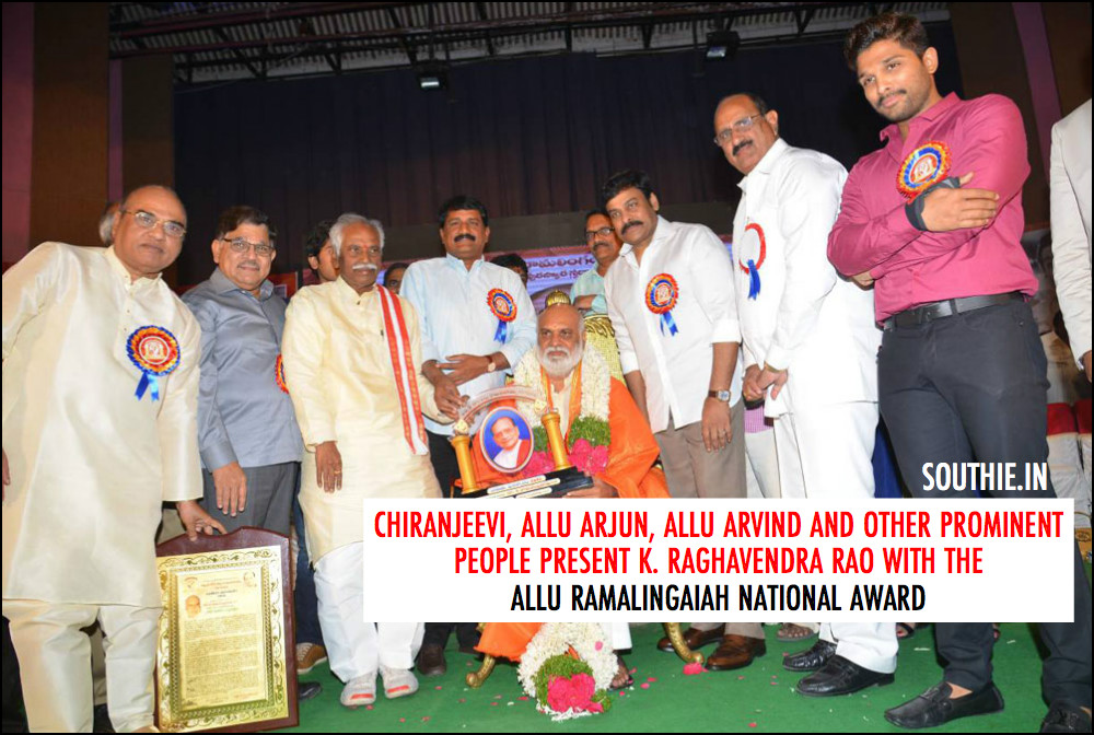 Chiranjeevi, Allu Arvind, Allu Arjun and many other prominent people are present while facilitating K.Raghavendra Rao.