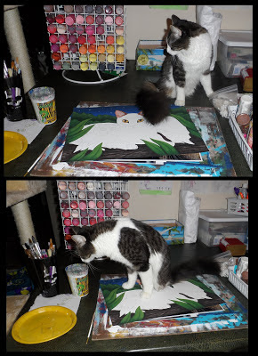 Anakin Two Legged Cat helping me paint, Tigerpixie.com