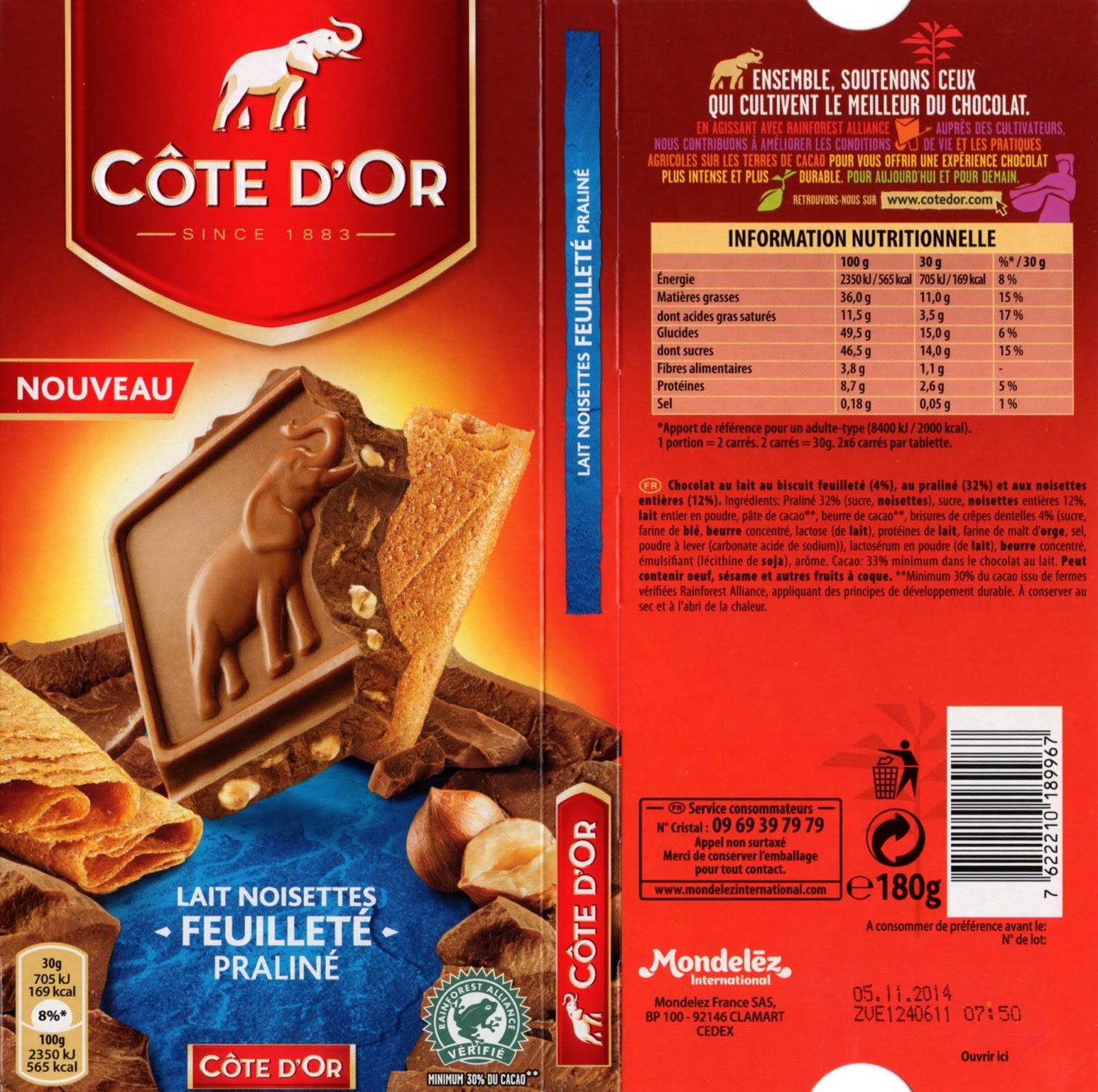 tablette de chocolat lait gourmand côte d'or lait noisettes feuilleté praliné