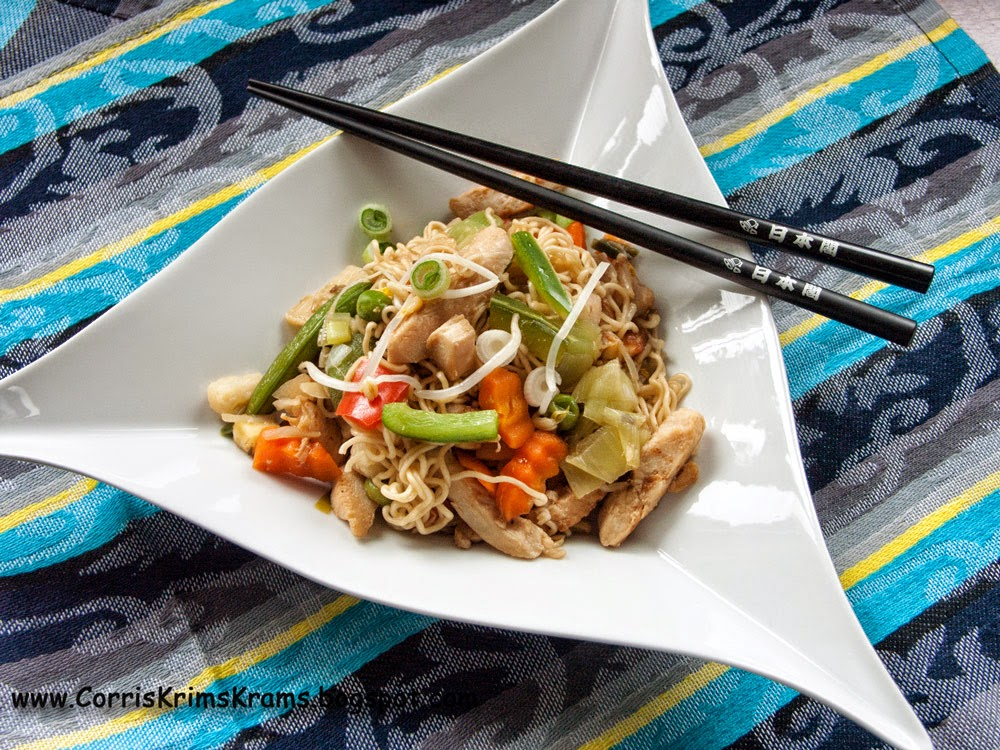 schnelle Küche, asiatisch, china-pfanne, mie-nudeln, sojasauce