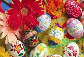 Easter Eggs Painted With Silk Ties