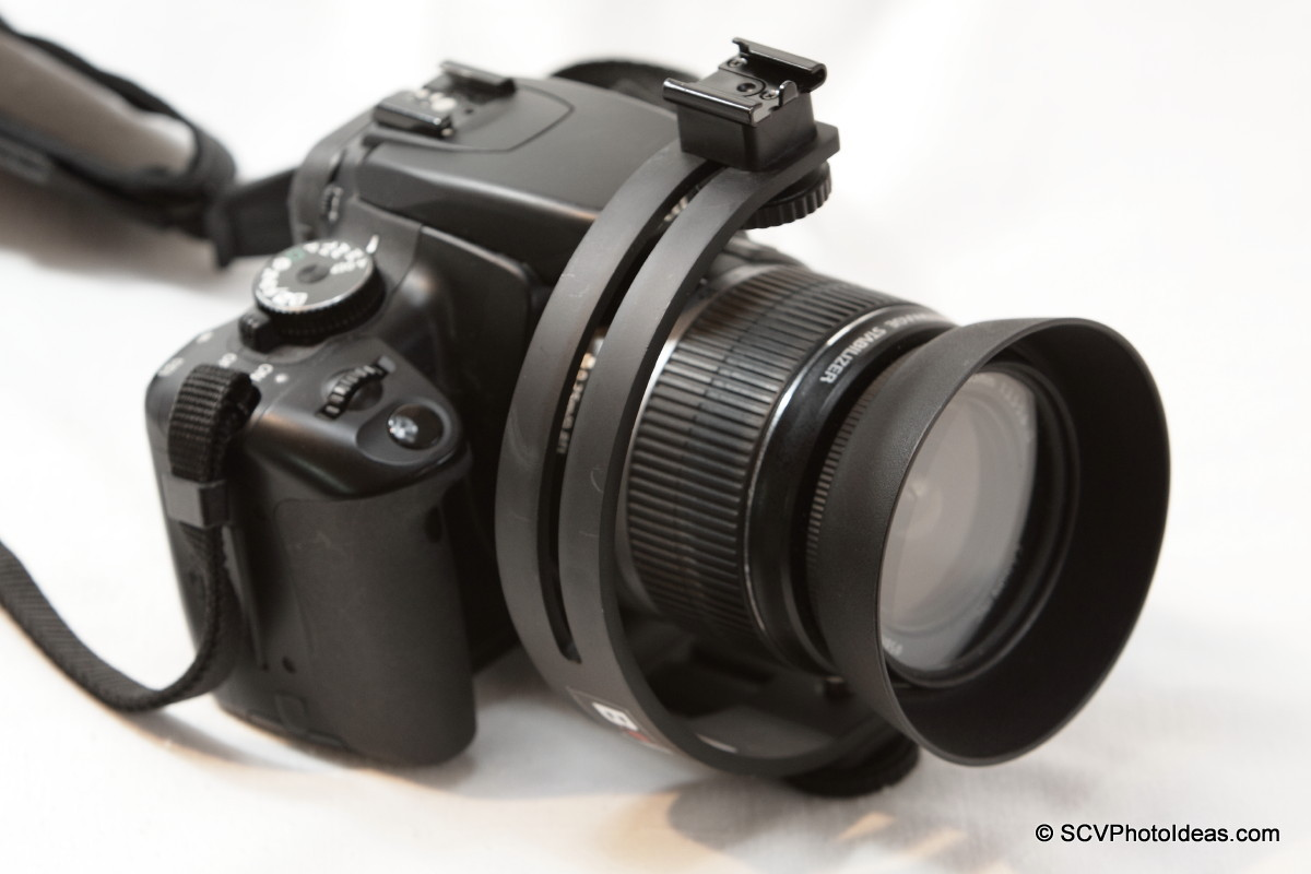 Boling C-Shape Flash Bracket mount on EOS 400D - top view