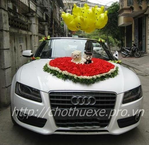 Cho thuê xe cưới mui trần màu trắng Audi A5 - xe cưới màu trắng 1