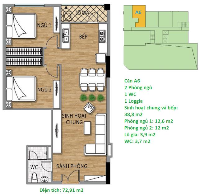 Căn hộ A6 diện tích 72,91 m2 tầng 2 Valencia Garden