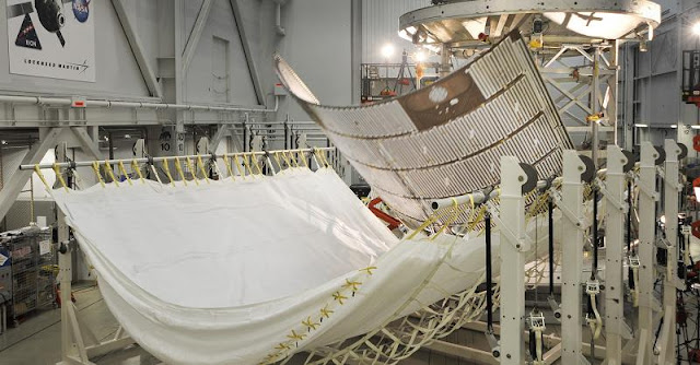 An Orion fairing panel separates during a June test at Lockheed Martin's facility in Sunnyvale, California. Three fairing panels encase Orion's service model to protect it during ascent to space and are jettisoned once they are no longer needed. Credits: Lockheed Martin
