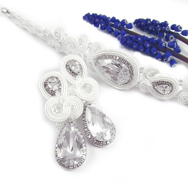 Biżuteria ślubna sutasz z kryształami Novia Blanca.
