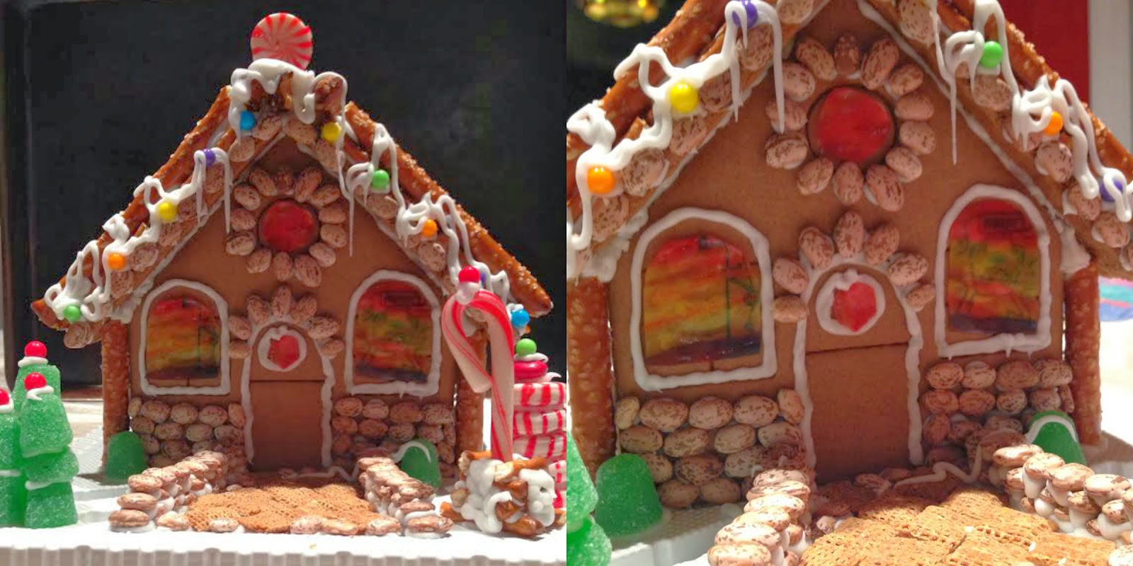Gingerbread House, Gingerbread House with Stained Glass Windows