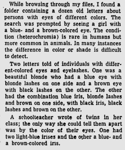 clip of article about heterochromia eyes, eyelashes 1960s