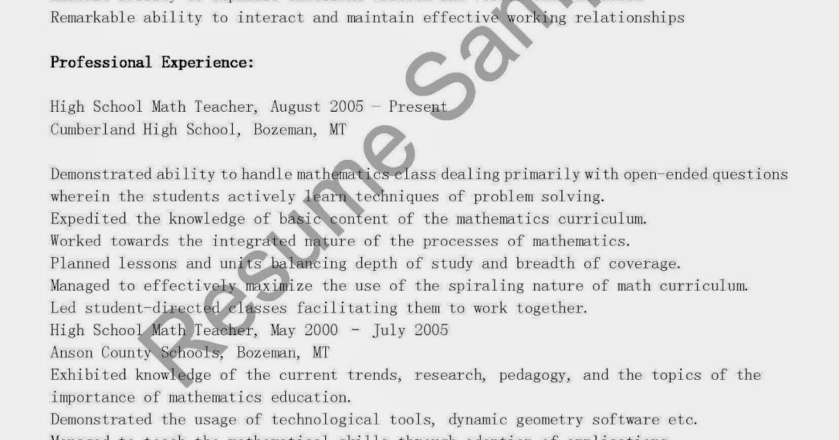 resume samples  high school math teacher resume sample