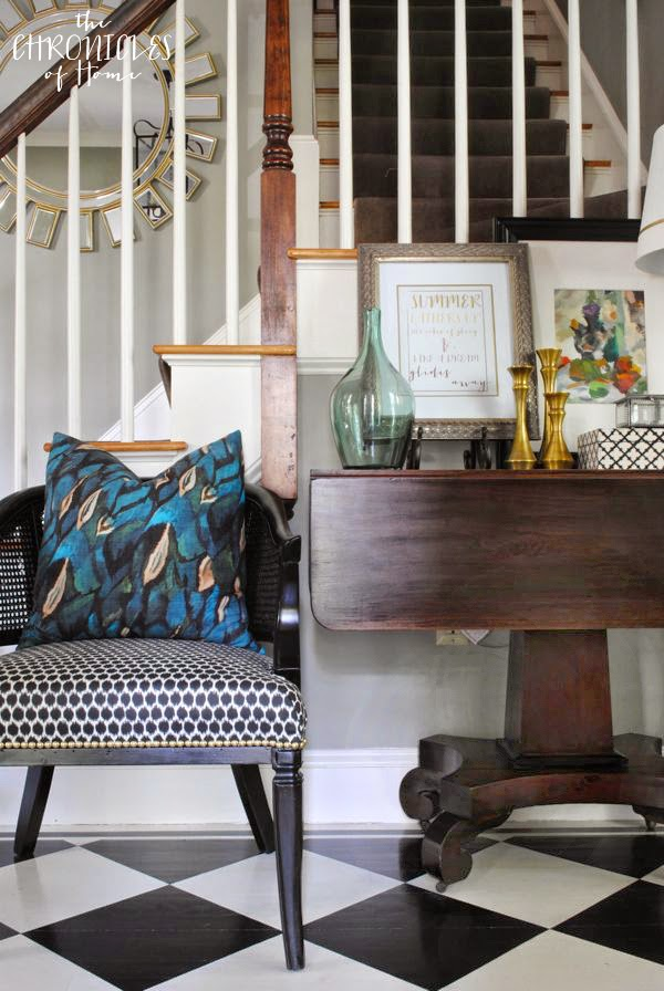 An early fall vignette with FREE PRINTABLE, peacock blue, brass accents, checkered floor
