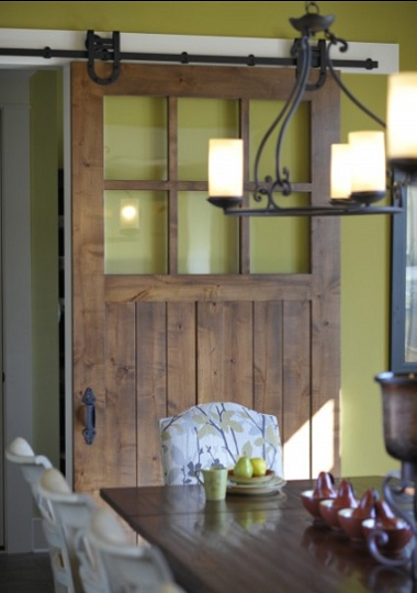 Sliding Barn Door With Glass As Pantry