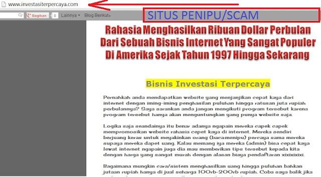 Investasiterpercaya.com Adalah PENIPU Alias SCAM