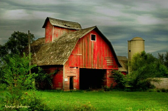 barn, colorful farm, silo