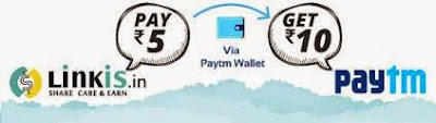 Linkis.in offer : Pay Rs 5 and Get Rs 10 Cashback in Your Paytm wallet