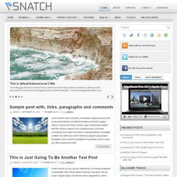 Snatch blog template. template image slider blog. magazine blogger template style. wordpress theme to blogger