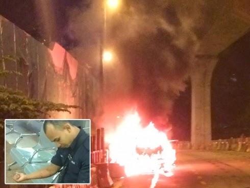 Tindakan pantas polis pecahkan cermin kereta berjaya menyelamatkan nyawa seorang lelaki