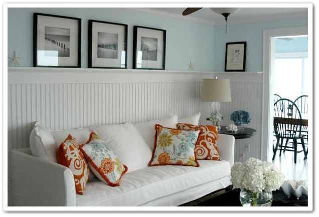 Blue and orange with white beadboard A favorite color bo of mine