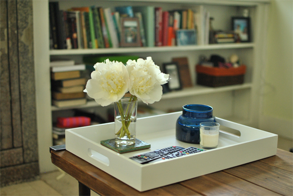 coffee table white lacquer tray