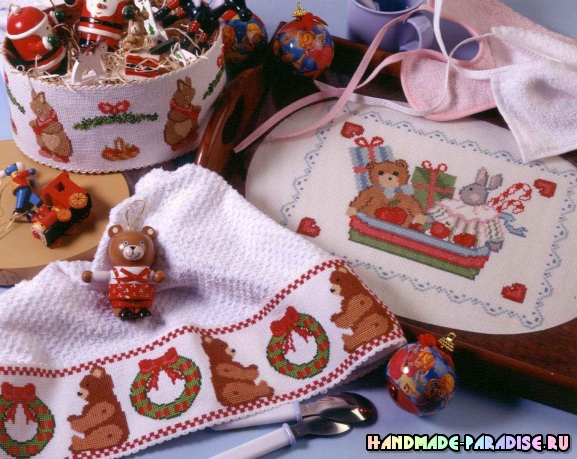 Детская новогодняя вышивка для подарков