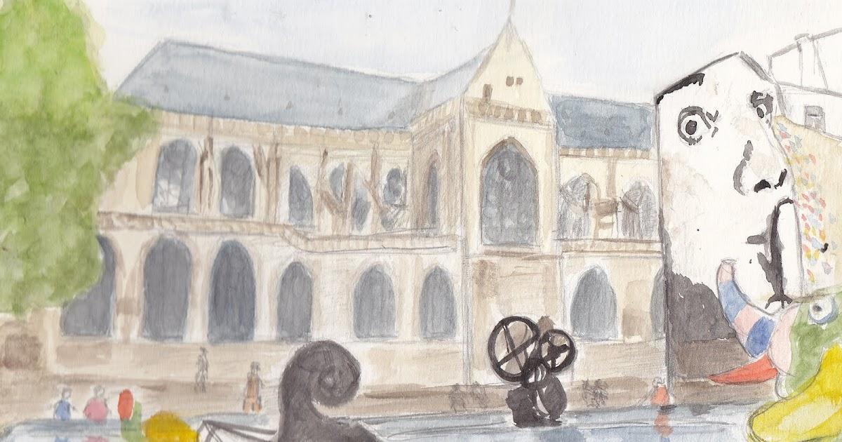 Urban sketchers paris la fontaine de tinguely et de niki de saint phalle b - Fontaine beaubourg niki de saint phalle ...