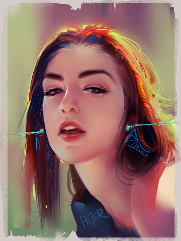 lukisan digital cewek cewek cantik karya xiaoji