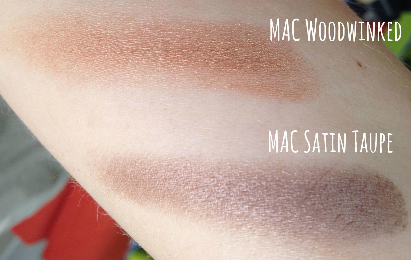 MAC Woodwinked Veluxe Pearl eye shadow and MAC Satin Taupe swatch