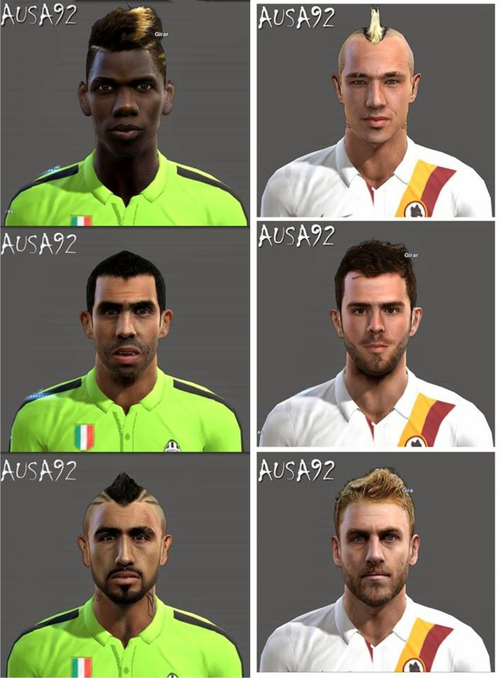 PES 2013 Juventus & AS Roma Facepack By Ausa92