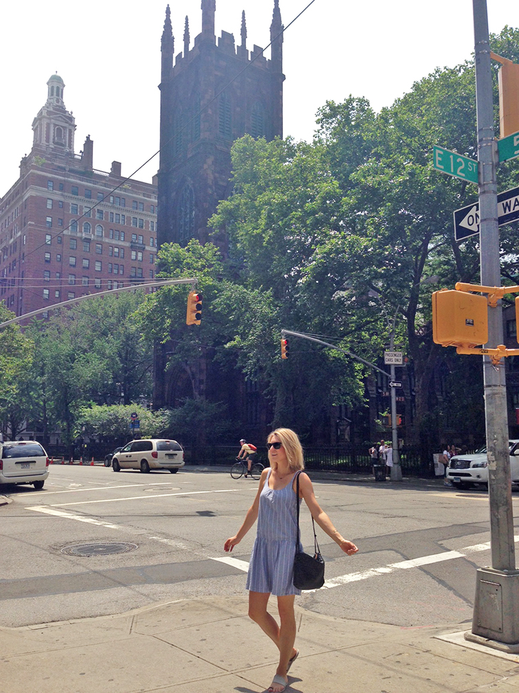 Joie sundress, chambray ruffle summer dress, Bottega Veneta intrecciato cross body leather bag, Vince silver toe ring sandals, New York City, summer days, fashion blogger, personal style