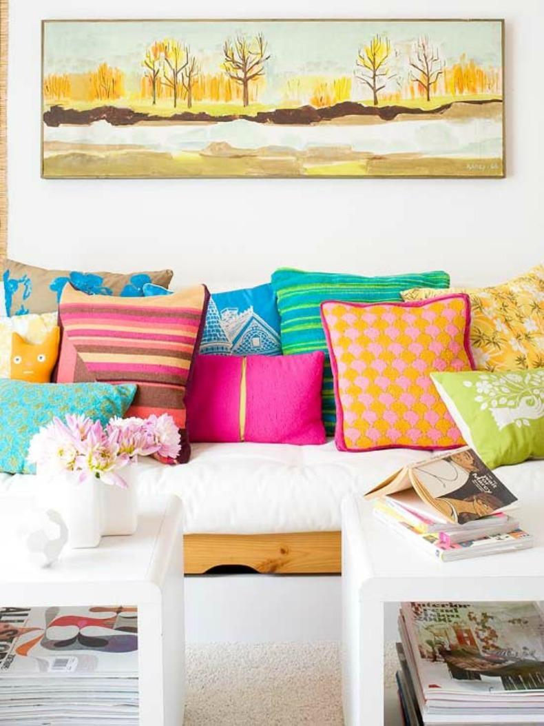 Coastal bright colored throw pillows