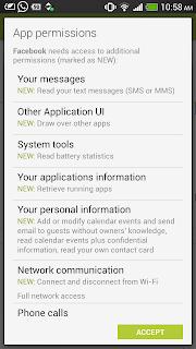 Berechtigungen der Facebook-App for Android