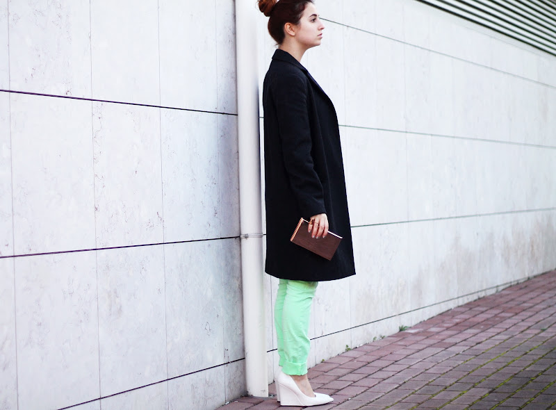 masculine coat and mint outfit