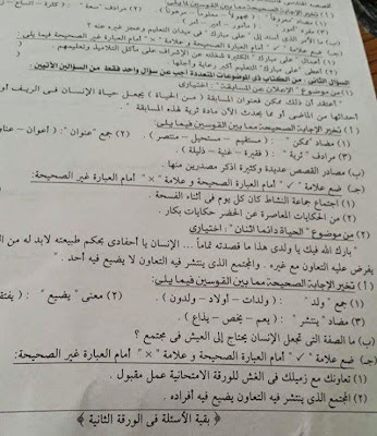 تجميع امتحانات اللغة العربية سادس ابتدائي ترم ثاني 2015 لجميع الادارات التعليمية في جميع محافظات مصر 11152332_824035597689096_4737135304629019255_n