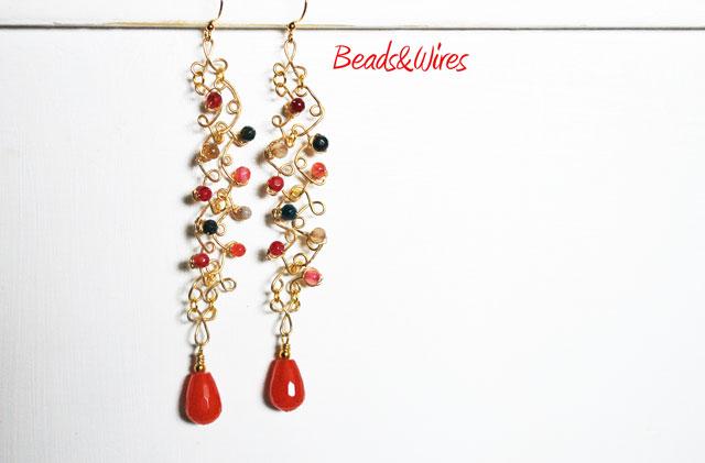 orecchini rosso natalizio