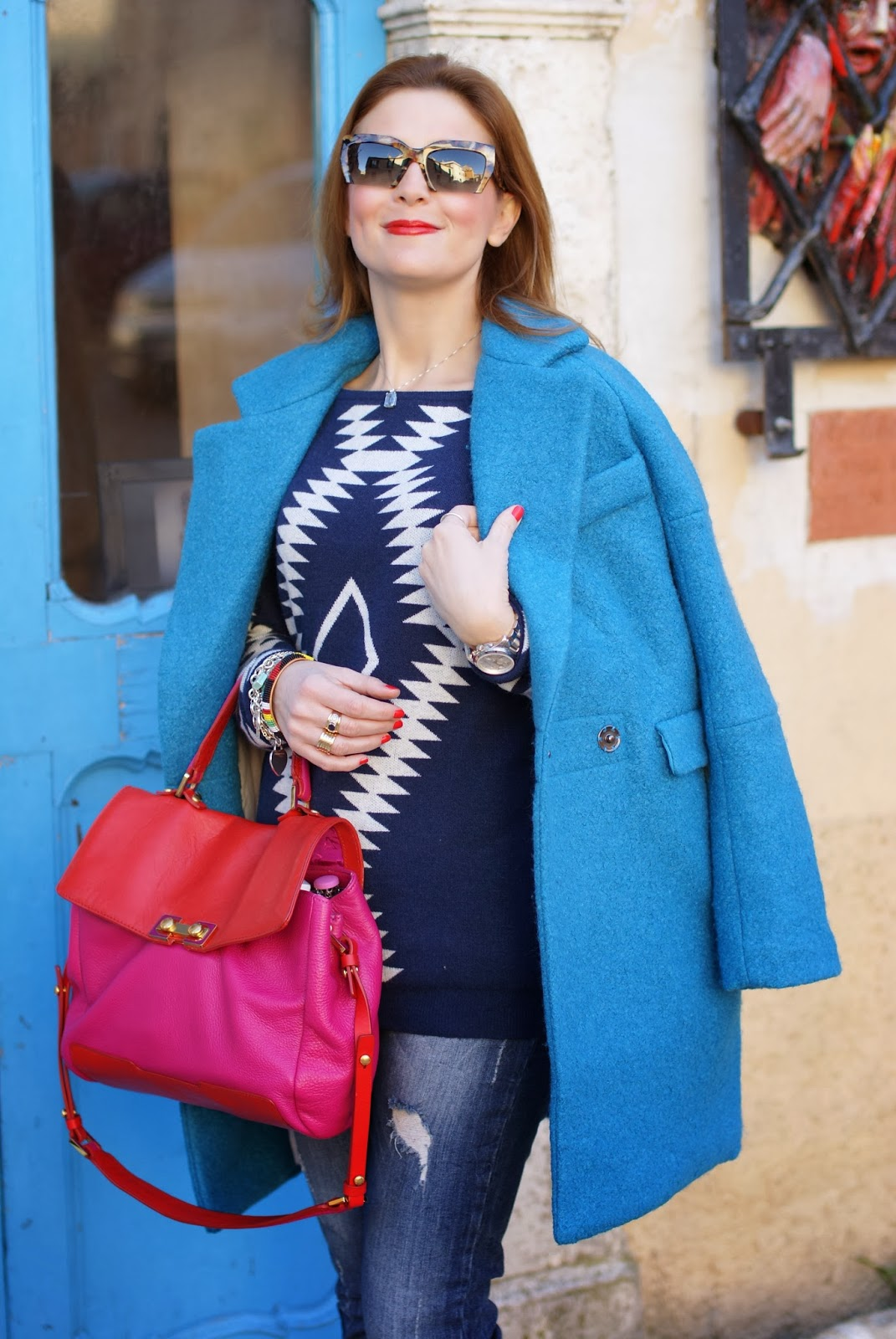 Miu Miu rasoir sunglasses, Blue oversized coat, Marc by Marc Jacobs color block bag, Fashion and Cookies, fashion blogger