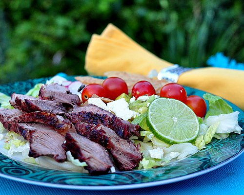 Grilled Steak Salad with Summer Tomato Salad ♥ KitchenParade.com, a true summer feast, sliced steak with a wet, messy salad of tomatoes, avocado and lettuce slightly wilted in a onion-bacon-poblano vinaigrette. Gorgeous! WW9