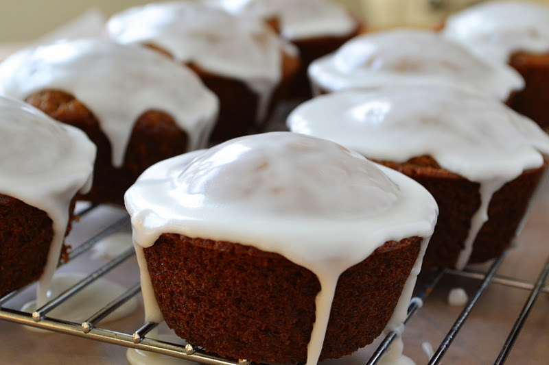 Gingerbread Muffins with Lemon Glaze ~ the scent of gingerbread baking ...