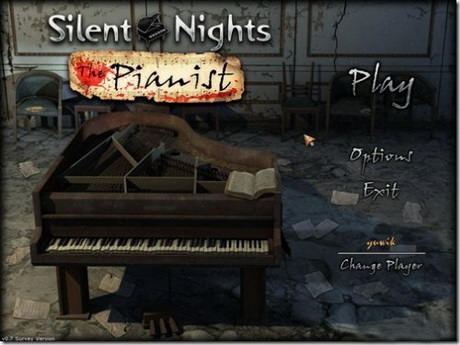 Silent Nights: The Pianist Collector's Edition. Screenshot of the main menu.
