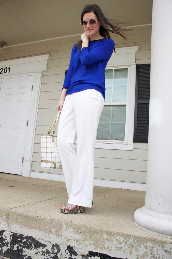 White pants, Forever 21 pants, cobalt, blue, Target top, Coach bag, Nine West wedges, snakeskin wedges, Nine West snakeskin wedges