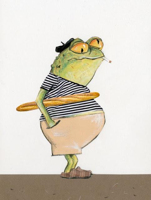 Illustration by Robert Wagt of a french frog for Bastille Day