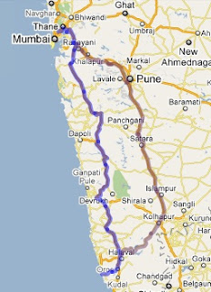 Mumbai to Malvan Road Map