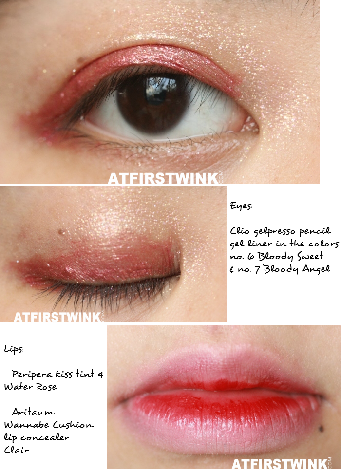 Clio gelpresso pencil gel liner in the color no. 6 - Bloody Sweet and no. 7 - Bloody Angel, Peripera Kiss Tint 4 - Water Rose, and Aritaum Wannabe Cushion lip concealer - Clair