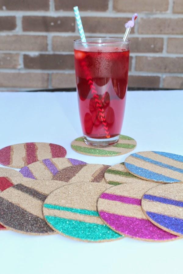 Craft Glittery Cork Board Coasters