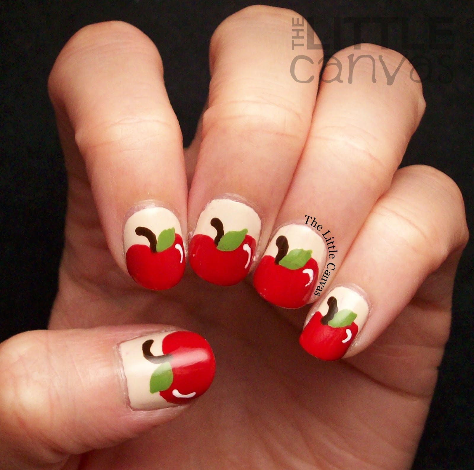 The Beauty Buffs: Fall Theme: Apple Nail Art - The Little Canvas