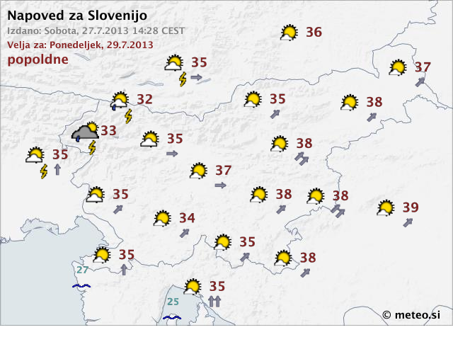 Weather forecast for Slovenia, Monday
