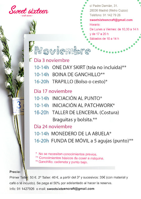 Calendario talleres punto ganchillo y costura de Noviembre en Sweet Sixteen craft Store, Madrid